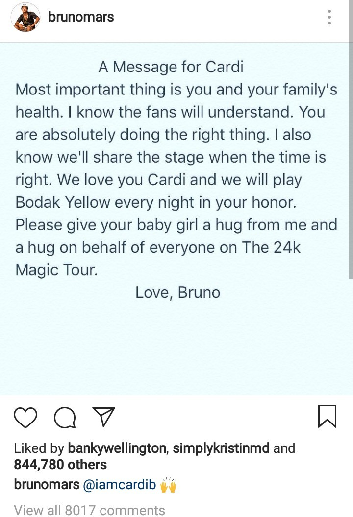 Bruno Mars responds to Cardi B