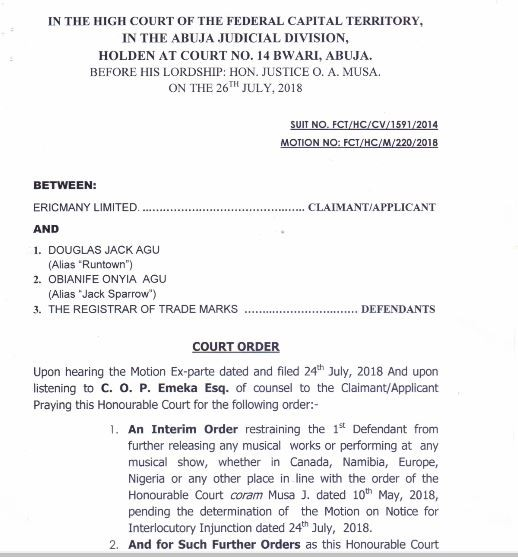 Runtown to appear at Abuja High Court on August 8th for disobeying a Court Injunction