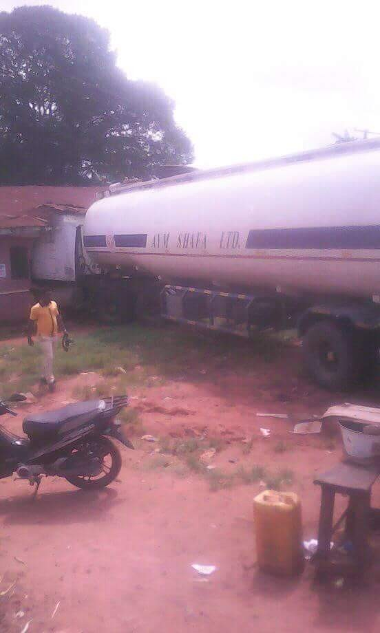 Photos: Petrol tanker loses control, rams into school in Edo