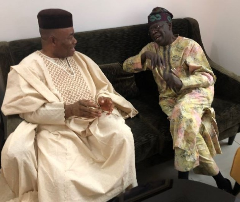 Photo:? Godswill Akpabio meets APC leader, Bola Tinubu?ahead of his planned defection to the party