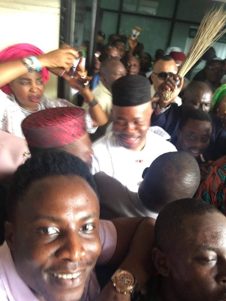 Photos: Godswill Akpabio arrives Uyo ahead of defection to APC tomorrow
