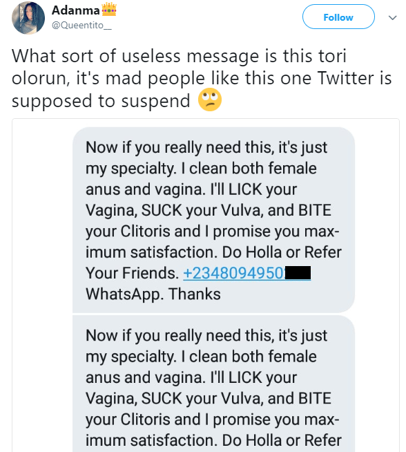See the vulgar message a man sent to a woman on Twitter (+18)