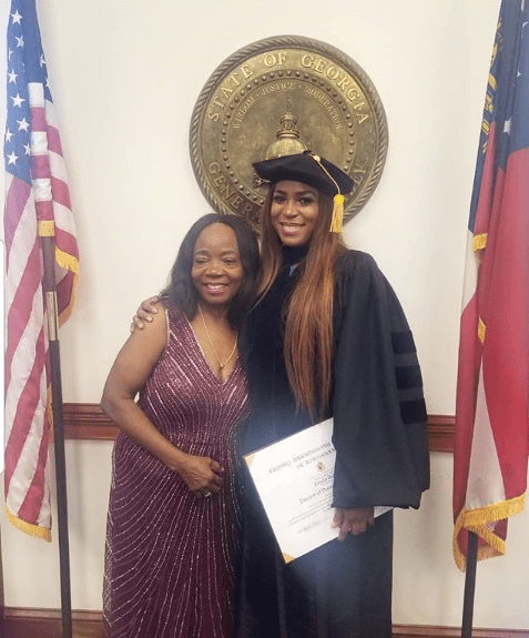 Photos of Linda Ikeji receiving her Honorary Doctorate degree from Trinity International University in Georgia