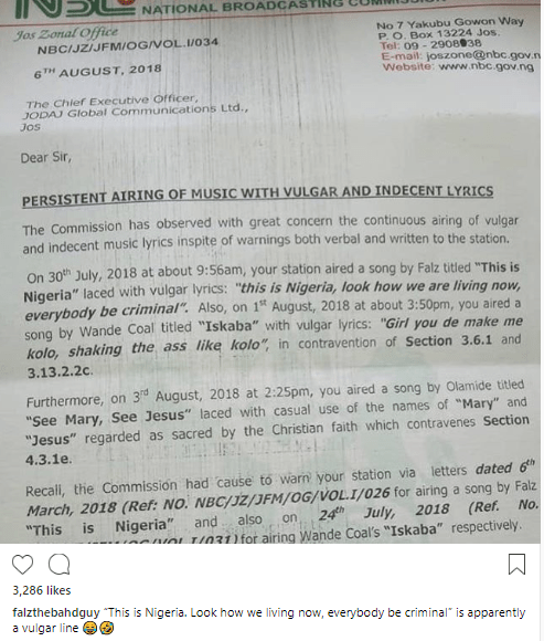 """Falz reacts after NBC fined a radio station for playing his song """"This is Nigeria"""""""