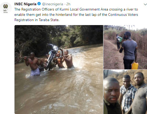 INEC shares photos of its Registration officers in Taraba state crossing a river just to complete the voters registration exercise