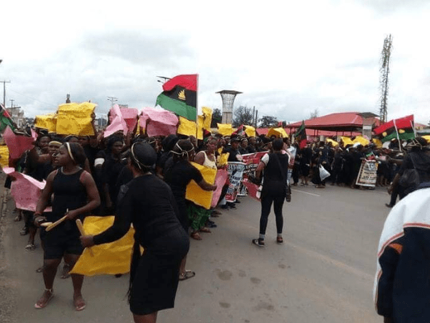 IPOB woman collapses during protest held for Nnamdi Kanu in Imo