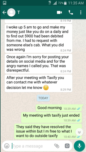Taxify driver and lady who accused him of theft make up after she apologized to him (screenshots)