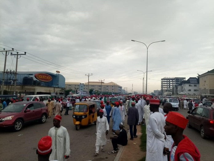 Photos: Kwankwaso moves his presidential declaration to a hotel after FG denied him access to Eagles Square