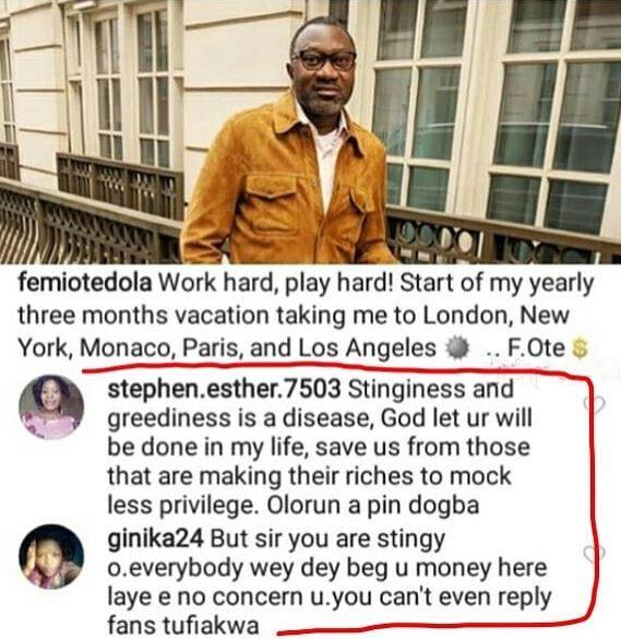 Instagram beggars call out Femi Otedola over his