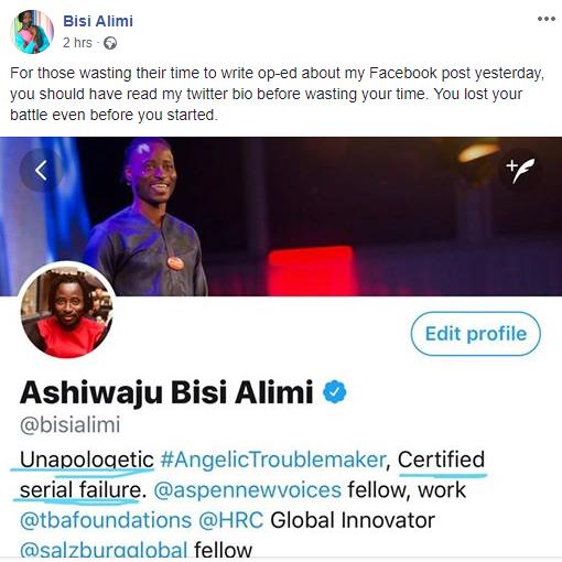 """I owe you nothing""- Bisi Alimi addresses Nigerian LGBT community"