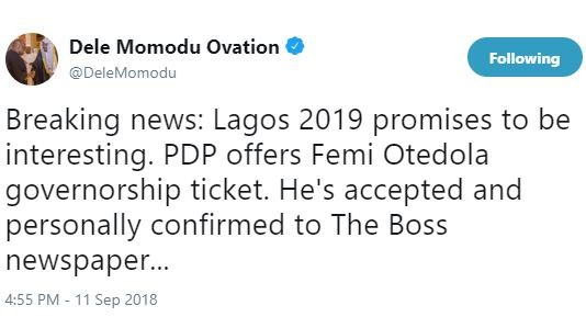 Dele Momodu says PDP has offered?Femi Otedola governorship ticket for Lagos State and he