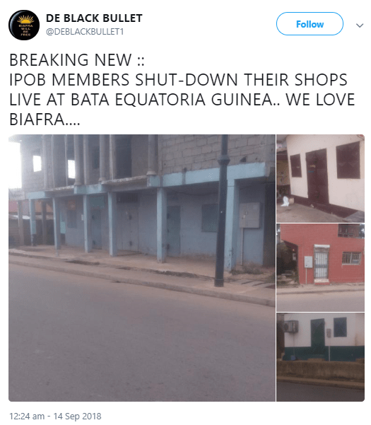 IPOB members living in Equatorial Guinea lock their shops to join in sit-at-home protest (photos)