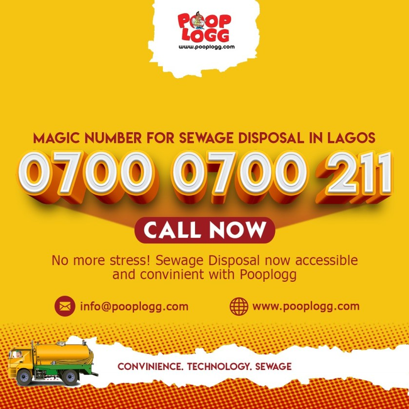Magic number for sewage disposal in Lagos...  Call PoopLogg now!