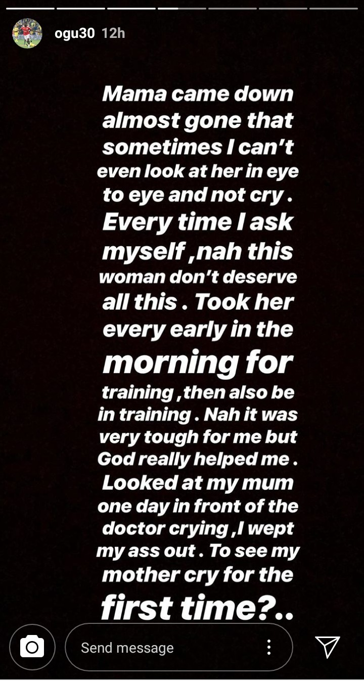 Footballer John Ogu narrates the trials he went through when he discovered his mother was down with a life-threatening illness