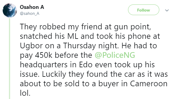 Nigerian man allegedly pays police officers N450k to help find his stolen car