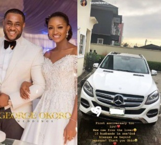 Ex-beauty queen, Powede Eniola-Awujo receives Mercedes Benz SUV from husband as first wedding anniversary gift