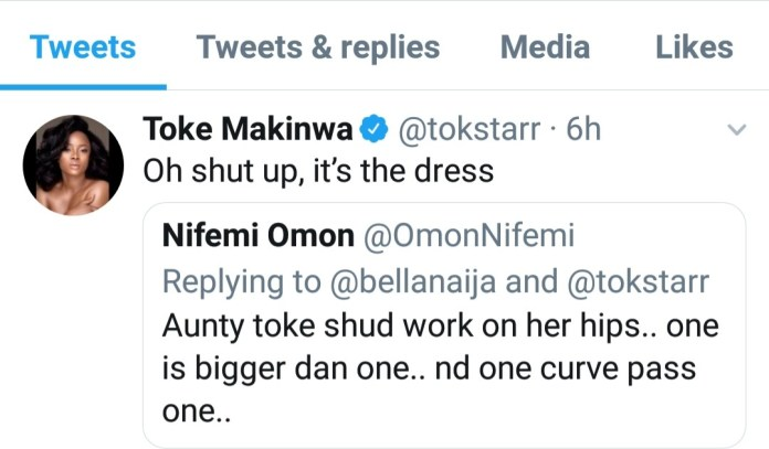 See Toke Makinwa response to people saying one of her hips is bigger than the other