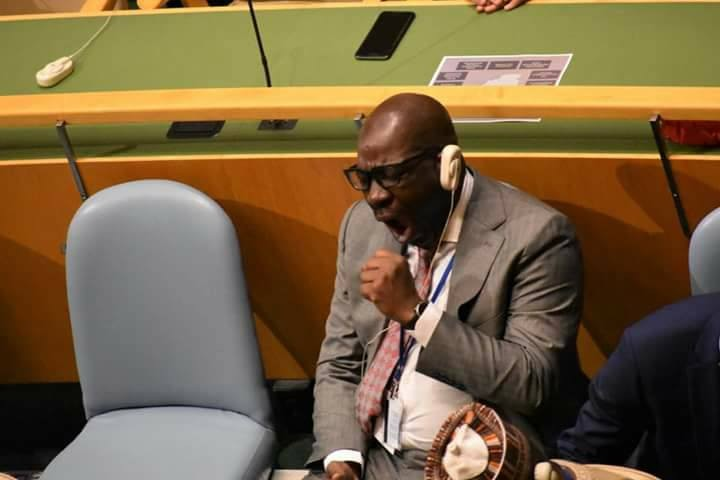 edo posture chair most expensive lift state governor godwin obaseki caught on camera sleeping while president buhari addressed the un general