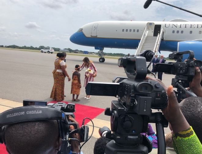 Photos:? US First lady Melania Trump arrives in Ghana on her first major solo foreign trip