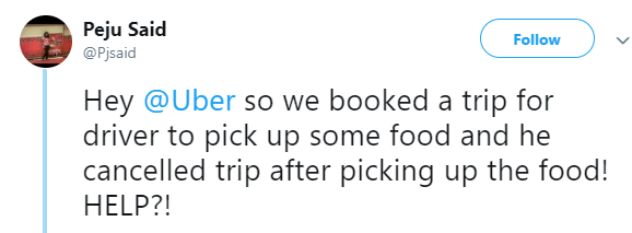 Twitter stories: Uber driver leaves customer disappointed as he disappears with packs of food meant for guests at a ceremony