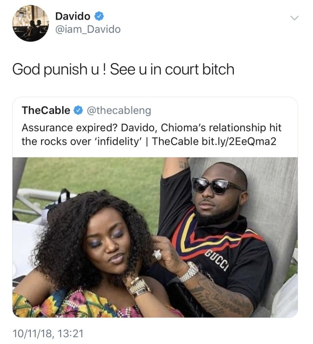 Davido slams report that alleges his relationship with Chioma is over