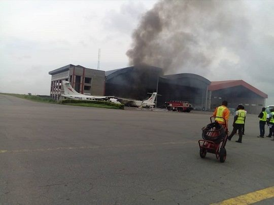 Photos from the scene of the Overland aircraft that caught fire at Lagos Airport