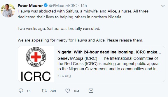 International Committee of the Red Cross raise alarm after 3 young nurses working with them were abducted; one killed while the other two risk death