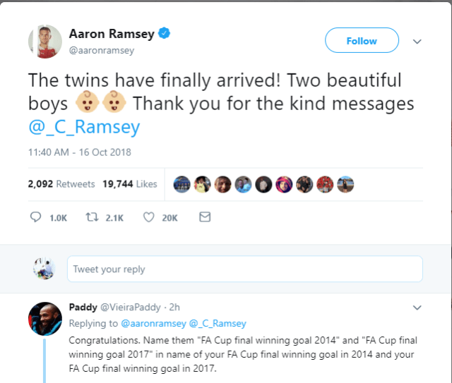 """Arsenal star Aaron Ramsey announces the birth of his twin boys and a fan suggests he named them """"FA Cup final winning goal 2014 and 2017"""""""
