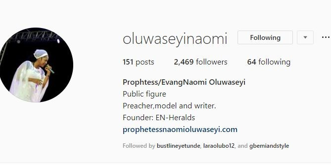 5bc99dc2bb120 - Ooni of Ife's new bride, Prophetess Naomi Oluwaseyi's Instagram followers doubles and too much traffic crashes her website