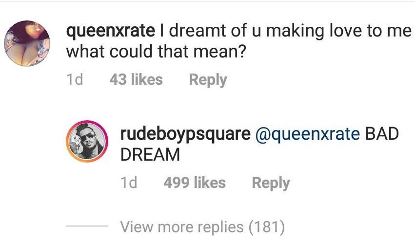 Between Paul Okoye and female fan who said she saw him making love to her in her dream