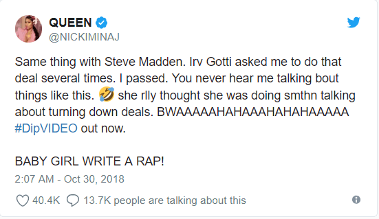 US Fashion designer Steve Madden tells Nicki Minaj to ?Stop Lying? about turning down an offer from him as he weighs in on her fight with Cardi B