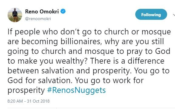 If people who don?t go to church or mosque are becoming billionaires, why are you still going there to pray for wealth? - Reno Omokri