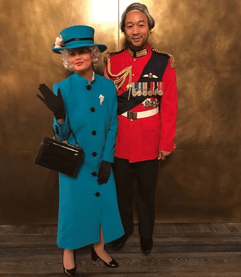 John Legend and Chrissy Teigen are Queen Elizabeth and Prince Philip for Halloween