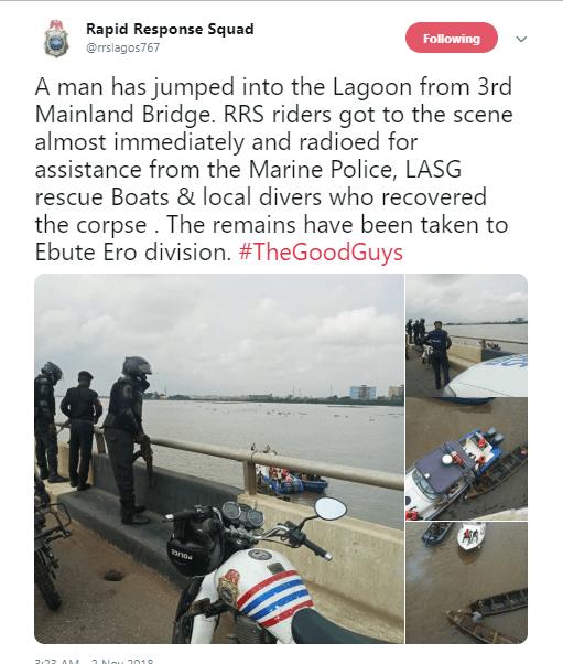Man jumps off 3rd mainland bridge; lifeless body recovered (Photos)