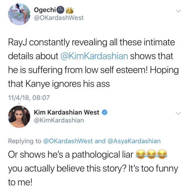 Kim Kardashian brands ex Ray J a ?pathological liar? after he released supposed new details of their intimate life