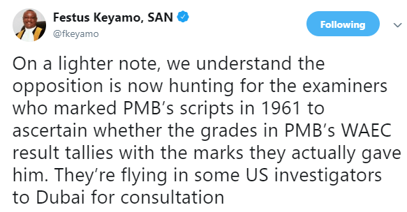 'PDP members looking for examiners who marked Buhari's 1961 Waec scripts' Says Keyamo on twitter