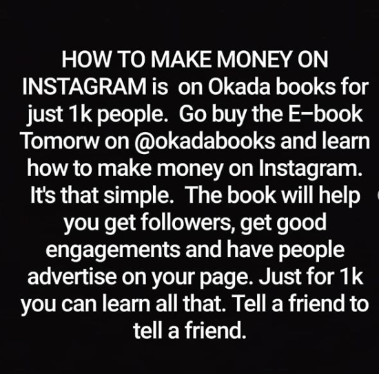 Laura Ikejis best seller, How to Make Money on Instagram, now selling on Okada books