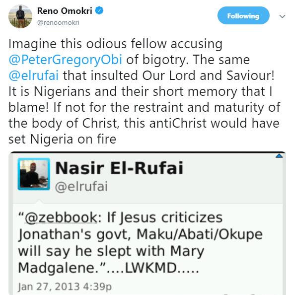Reno Omokri reacts to Governor El-Rufai calling Peter Obi a tribal bigot