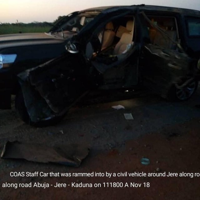 Photos: Drunk man rams into convoy of the Chief of Army Staff, Lt. Gen Tukur Buratai