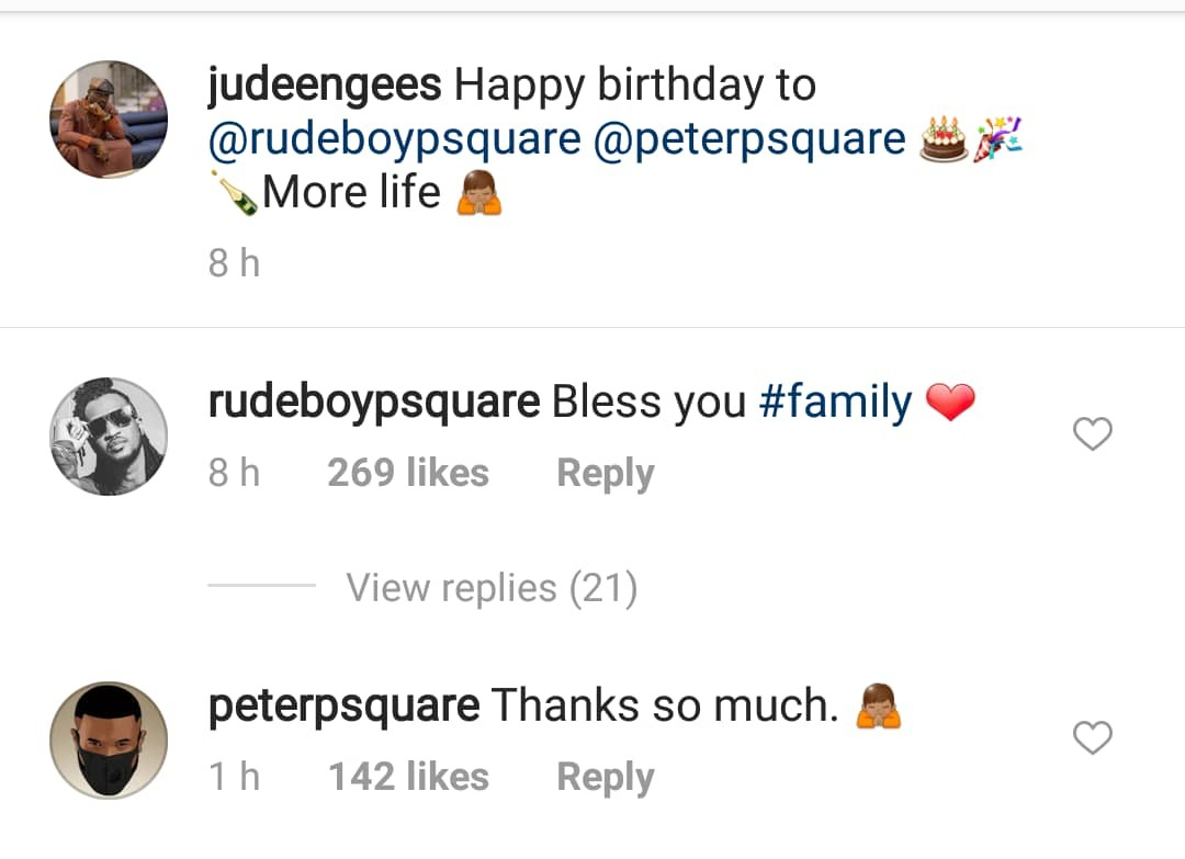 Peter and Paul Okoye react as their older brother, Jude, wishes them a happy birthday