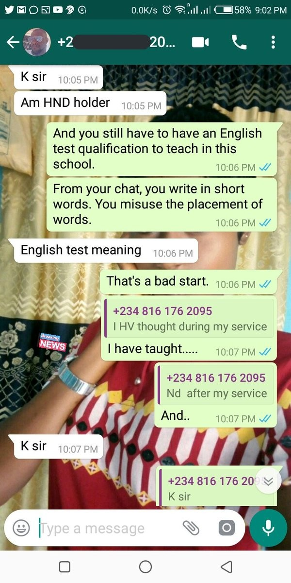 Man shares screenshot of his chat with a Nigerian who needed his recommendation for a job in Dubai but refused to take simple corrections