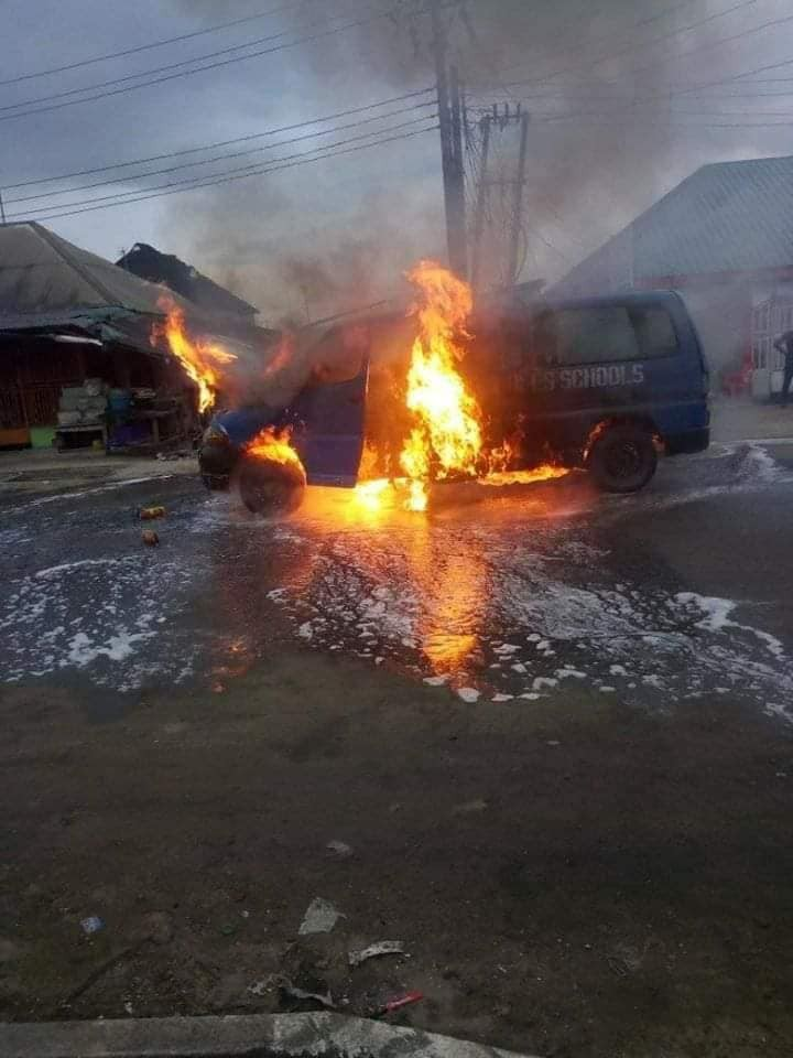 Photos: Tragedy averted as school bus conveying pupils home goes up in flames in Rivers