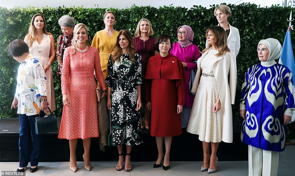 See lovely photos of some of the wives of world leaders with Melania Trump rocking $10,000 Dior dress as they pose together.