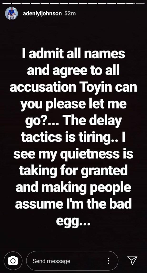"""Toyin, please let me go"" Adeniyi Johnson accuses ex Toyin Abraham of refusing to grant him divorce"