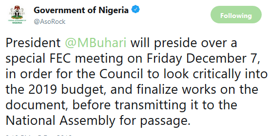 President Buhari to hold special Federal executive council meeting tomorrow December 7th