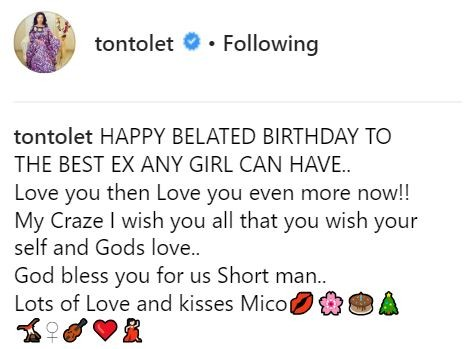 'Happy birthday to the best EX any girl can have'-Tonto Dikeh celebrates former boo