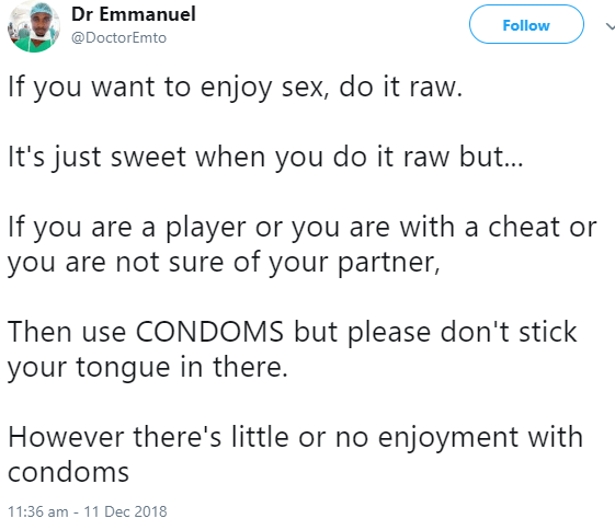 "Doctor receives heat after he said ""if you want to enjoy sex, do it raw... there"