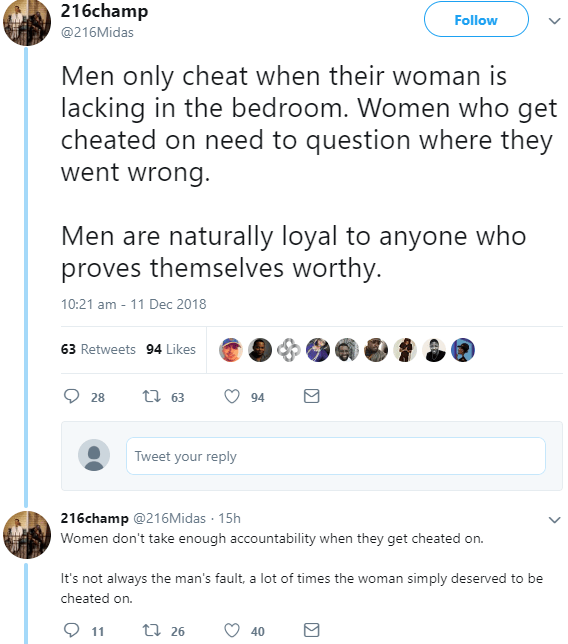 """""""Men only cheat when their woman is lacking in the bedroom"""" - Twitter user blame women for men"""