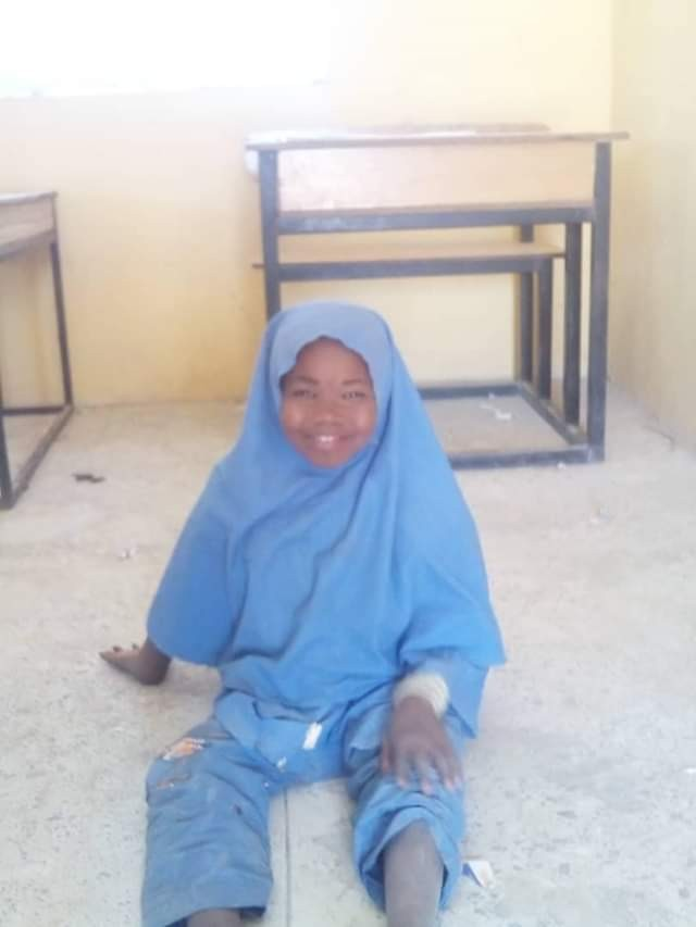 Physically challenged girl whose father was killed by Boko Haram terrorists is all smiles as she gets a wheelchair