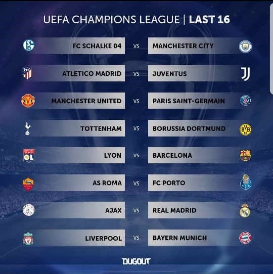 Champions League last-16 draw revealed: Manchester United vs PSG, Liverpool vs Bayern (See full draw)